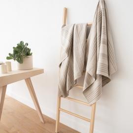 Badehåndklæder i hør, 4 stk., naturfarvede, stribede, Linum