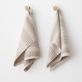 Håndklæder i hør, 2 stk., cremefarvede, Linum