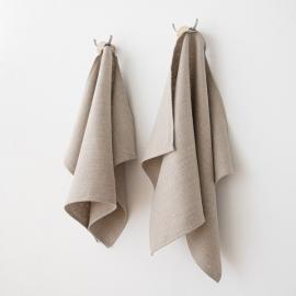 Håndklæder i hør, 2 stk., naturfarvede, Lara
