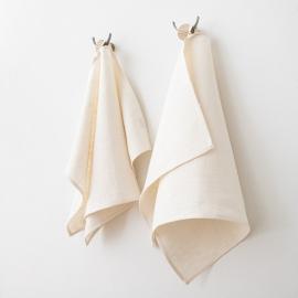 Håndklæder i hør, 2 stk., cremefarvede, Lara