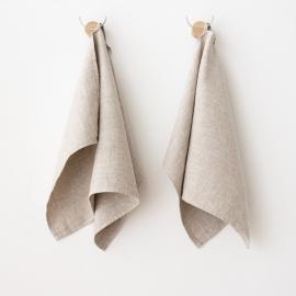 Håndklæder i hør, 2 stk., beige, Twill