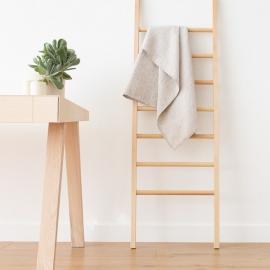 Badehåndklæde i hør og bomuld, naturfarvet/beige, Checkes