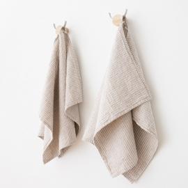 Gæstehåndklæder i hør og bomuld, 2 stk., naturfarvede, Wier
