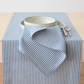 Blå bordløber i hør og bomuld, stribet, Jazz
