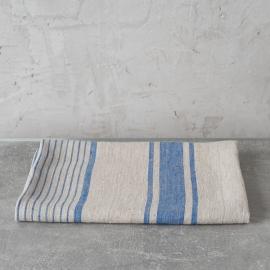 Strandhåndklæde i hør, hvidt / blåt, Philippe