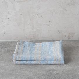 Sæt af håndklæder i hør, blå, Multistripe