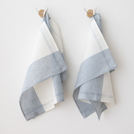 Set of 2 Stone Washed Linen Tea Towels Steel Grey