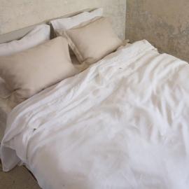 Luksus-sengesæt i hør, hvidt, med hulsøm