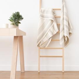 Badehåndklæder i hør, 4 stk., cremefarvede, Linum