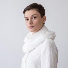 Sommertørklæde i linned, hvidt, Garza Fringe
