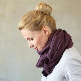 Sommertørklæde i linned, aubergine, Garza