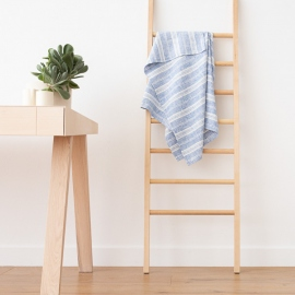 Badehåndklæde i hør, blåt/hvidt, Multistripe