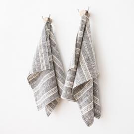 Sæt af håndklæder i hør, sort/hvid, Multistripe