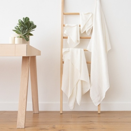 Håndklæder i hør, 4 stk., hvide/stribede, Twill