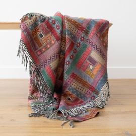 Plaid i merino uld, rød / grøn, Marta