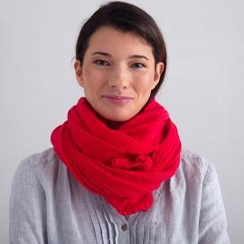 Sommertørklæde i hør, rødt, Garza