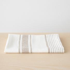 Strandhåndklæde i hør, hvidt / grå, Tuscany