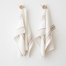 Badehåndklæde og gæstehåndklæde i hør, grå, Tuscany