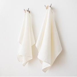 Sæt af håndklæder i hør, 2 stk., off white, Rhomb Damask