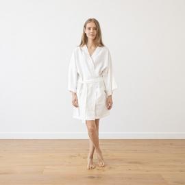 Kort badekåbe i hør, hvid, Alma
