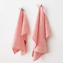 Håndklæde og gæstehåndklæde, røde, Francesca