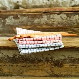 Viskestykker, 2 stk., hvide/røde, Gingham