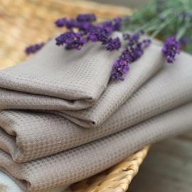 Badehåndklæde i hør og bomuld, taupe, Wafer