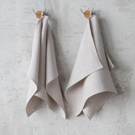 Håndklæder i hør, sølv, 2 stk., Lara
