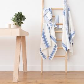 Badehåndklæde-sæt i hør, blåt, Tuscany