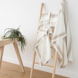 Badehåndklæde-sæt i hør, beige, Tuscany