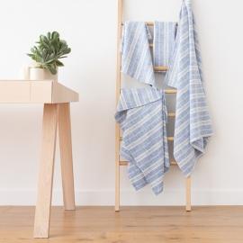 Badehåndklæde-sæt, 100% hør, Multistripe