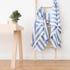 Badehåndklæde-sæt i 100% hør, blåt, Philippe