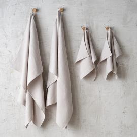 Sæt af badehåndklæder i hør, sølv, Lara