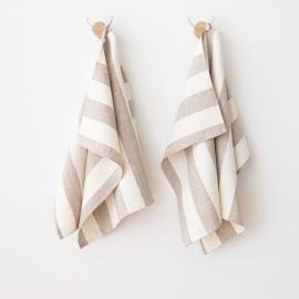 Sæt af håndklæder i hør, naturfarvet / cremefarvet, Philippe