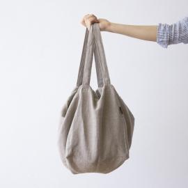 Strand-taske i hør, naturfarvet, Lara