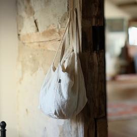 Strand-taske i 100% lin, cremefarvet, Lara