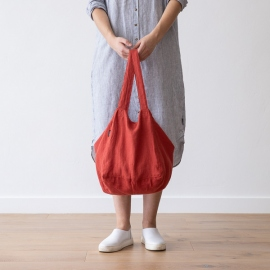 Strand-taske i hør, orange, Lara
