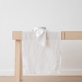 Bordløber i hør, hvid, stenvasket