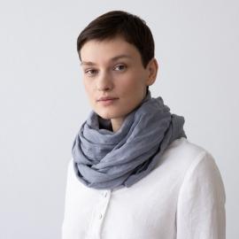 Sommertørklæde i hør, gråblåt, Garza