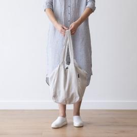 Strand-taske i hør, sølv, Lara