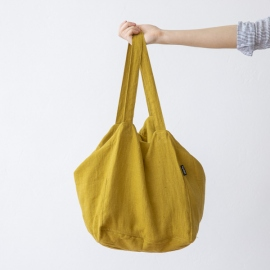 Strand-taske i hør, citron-farvet, Lara