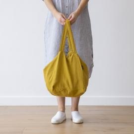 Strand-taske i hør, gul-farvet, Lara