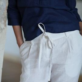 Bukser i hør, hvide, Daniela