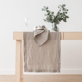 Bordløber i hør, taupe, stenvasket