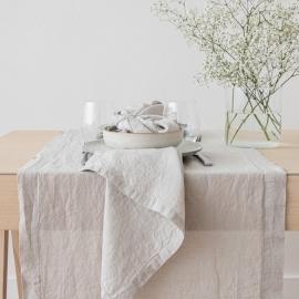Sølv bordløber i hør, stenvasket