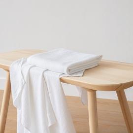 Badehåndklæde i hør, hvidt, Wafer