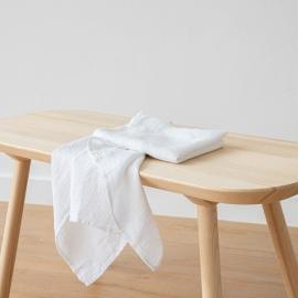 Håndklæde og Gæstehåndklæde i hør, hvide, Waffer