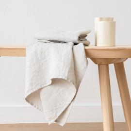Håndklæde og Gæstehåndklæde i hør, sølv, Waffer