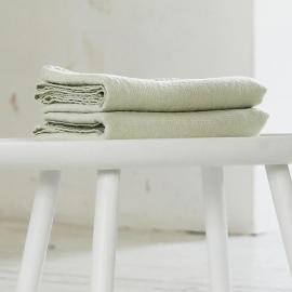 Badehåndklæde i hør, grønt, Wafer