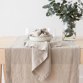 Naturfarvet bordløber i hør, stenvasket